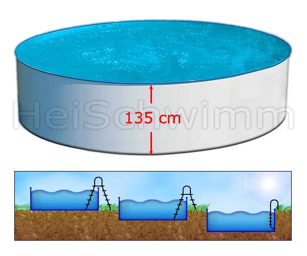 Schwimmbecken future pool rund 500 x 135 cm for Schwimmbad zum aufstellen