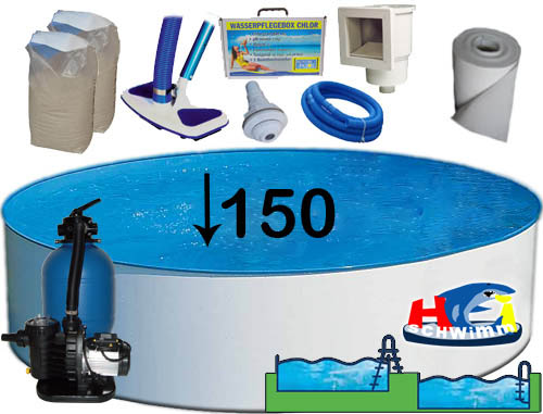 Pool set rund hu74 hitoiro for Intex pool 150 cm tief