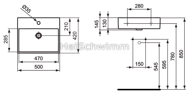 ideal standard strada waschtisch 50 cm. Black Bedroom Furniture Sets. Home Design Ideas