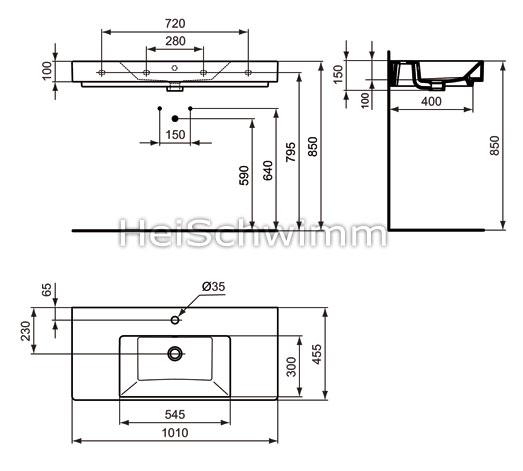ideal standard strada waschtisch 100 cm. Black Bedroom Furniture Sets. Home Design Ideas
