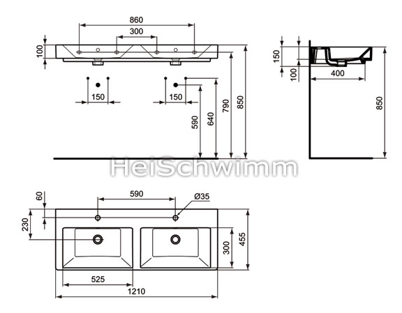ideal standard strada doppelwaschtisch 121 cm. Black Bedroom Furniture Sets. Home Design Ideas